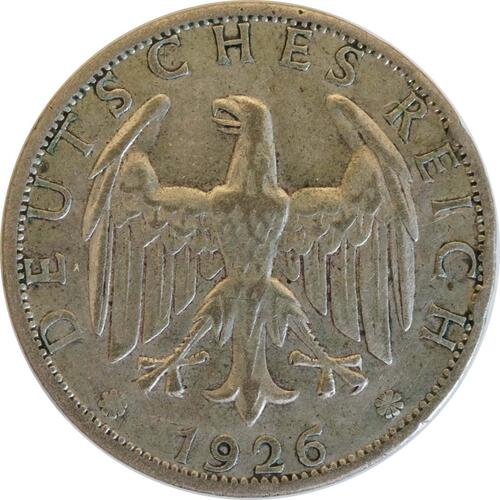 Rückseite:Deutschland : 2 Reichsmark Kursmünze patina 1926 ss.