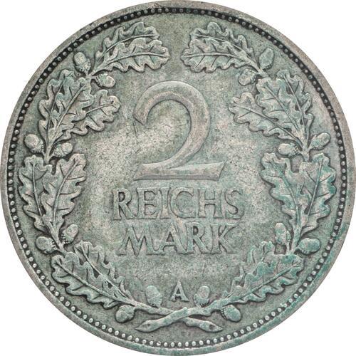 Vorderseite:Deutschland : 2 Reichsmark Kursmünze patina 1926 ss.