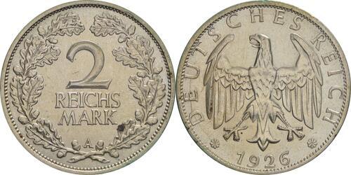 Lieferumfang:Deutschland : 2 Reichsmark Kursmünze  1926 ss/vz.