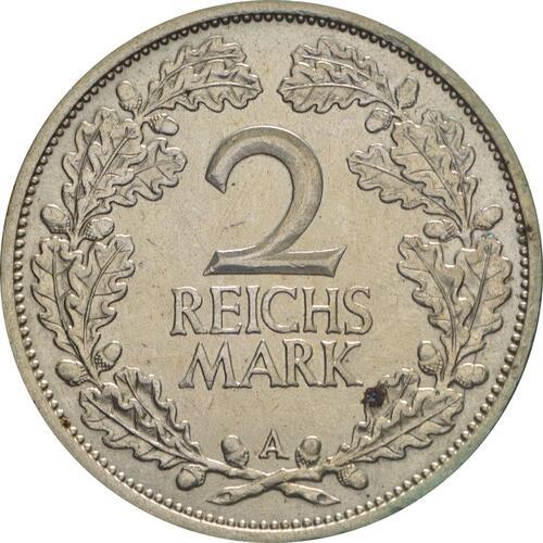 Vorderseite:Deutschland : 2 Reichsmark Kursmünze  1926 ss/vz.