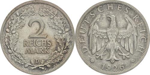 Lieferumfang :Deutschland : 2 Reichsmark Kursmünze  1926 ss/vz.