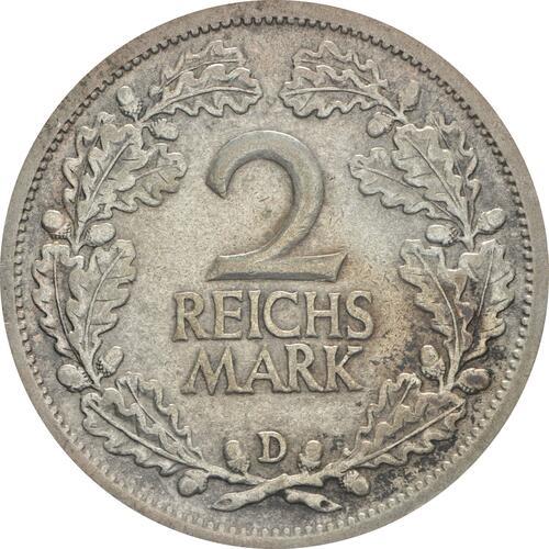 Vorderseite :Deutschland : 2 Reichsmark Kursmünze  1926 ss/vz.