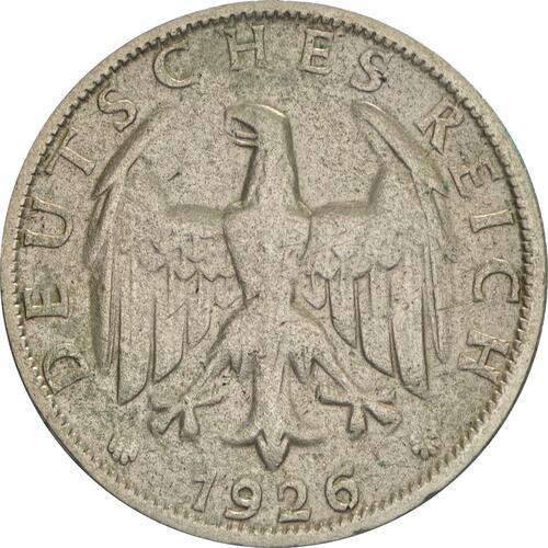 Rückseite:Deutschland : 2 Reichsmark Kursmünze  1926 ss.