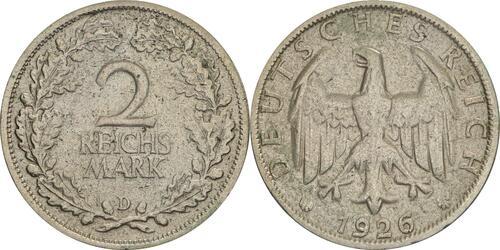 Lieferumfang:Deutschland : 2 Reichsmark Kursmünze  1926 ss.