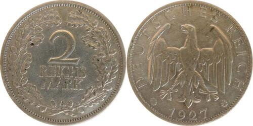 Lieferumfang:Deutschland : 2 Reichsmark Kursmünze  1927 ss.