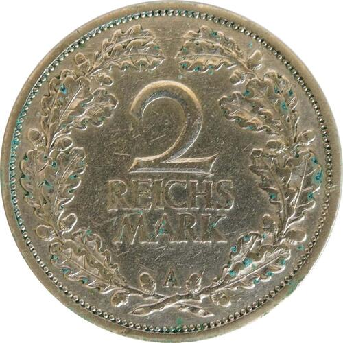 Vorderseite:Deutschland : 2 Reichsmark Kursmünze  1927 ss.