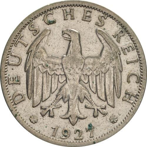 Rückseite:Deutschland : 2 Reichsmark Kursmünze  1927 ss.