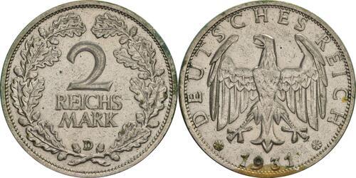 Lieferumfang:Deutschland : 2 Reichsmark Kursmünze  1931 ss.