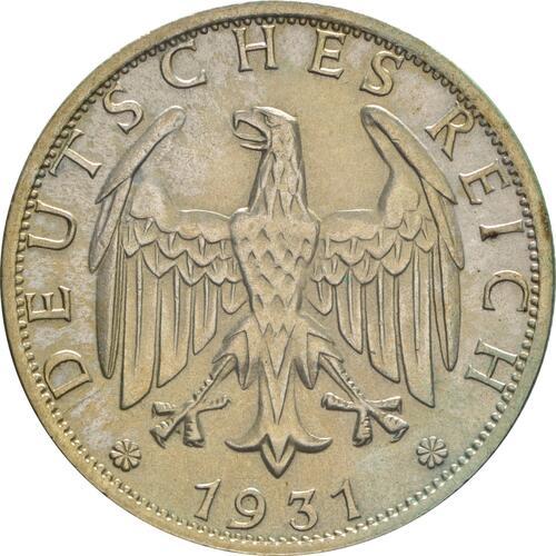 Rückseite:Deutschland : 2 Reichsmark Kursmünze  1931 vz/Stgl.