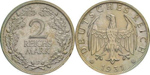 Lieferumfang:Deutschland : 2 Reichsmark Kursmünze  1931 vz/Stgl.