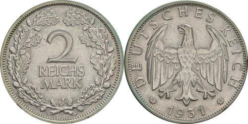 Lieferumfang:Deutschland : 2 Reichsmark Kursmünze  1931 vz.