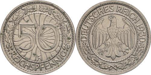Lieferumfang :Deutschland : 50 Reichspfennig Kursmünze  1930 vz.