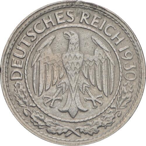 Rückseite:Deutschland : 50 Reichspfennig Kursmünze  1930 vz.