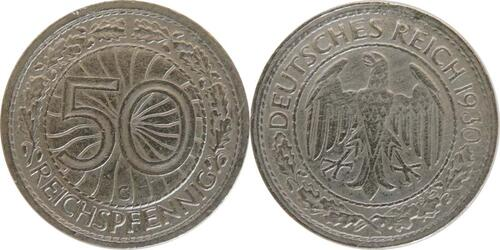 Lieferumfang:Deutschland : 50 Reichspfennig Kursmünze  1930 vz.