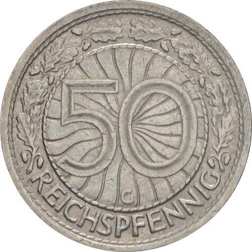 Vorderseite:Deutschland : 50 Reichspfennig Kursmünze  1930 vz.