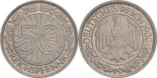 Lieferumfang:Deutschland : 50 Reichspfennig Kursmünze  1933 vz.