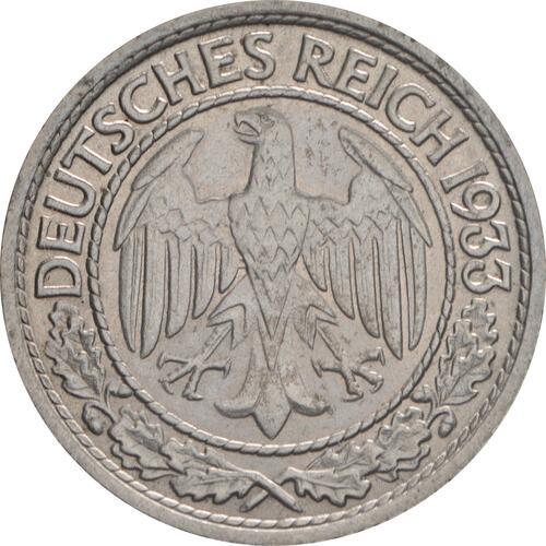 Rückseite:Deutschland : 50 Reichspfennig Kursmünze  1933 vz/Stgl.