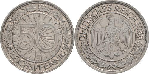 Lieferumfang:Deutschland : 50 Reichspfennig Kursmünze  1933 vz/Stgl.