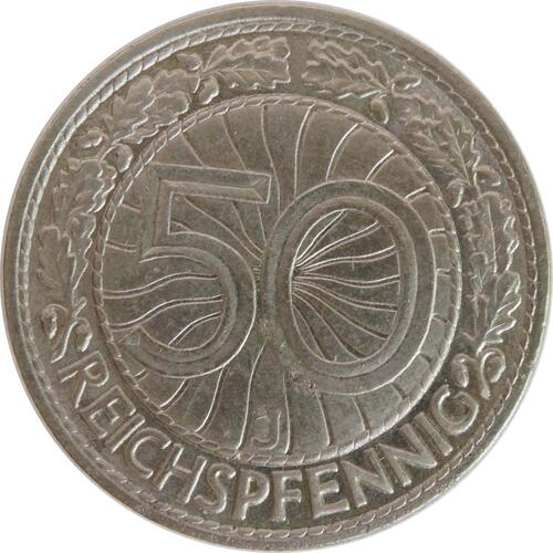 Vorderseite:Deutschland : 50 Reichspfennig Kursmünze  1933 vz/Stgl.
