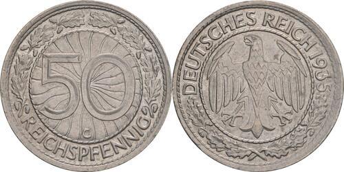 Lieferumfang:Deutschland : 50 Reichspfennig Kursmünze  1935 vz.