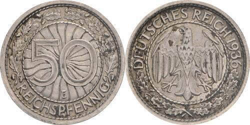 Lieferumfang:Deutschland : 50 Reichpfennig Kursmünze  1936 ss.