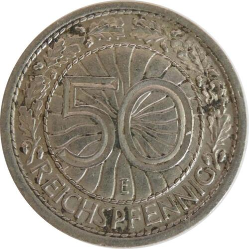 Vorderseite:Deutschland : 50 Reichpfennig Kursmünze  1936 ss.