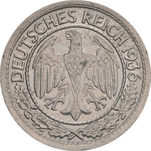 Rückseite:Deutschland : 50 Reichspfennig Kursmünze  1936 vz.