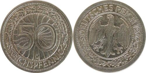 Lieferumfang:Deutschland : 50 Reichspfennig Kursmünze  1936 vz.