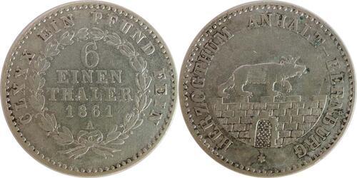 Lieferumfang:Deutschland : 1/6 Taler   1861 ss.