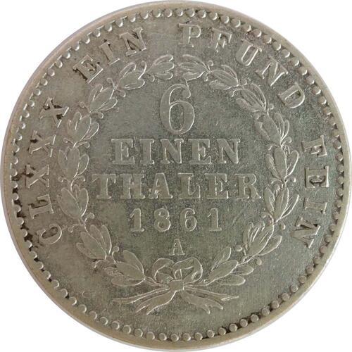 Vorderseite:Deutschland : 1/6 Taler   1861 ss.