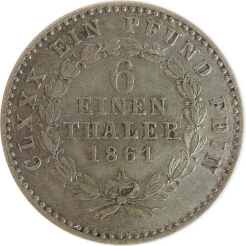 Vorderseite :Deutschland : 1/6 Taler   1861 ss.