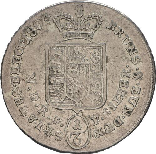 Rückseite :Deutschland : 1/6 Taler Büste / Wappen  1804 ss/vz.