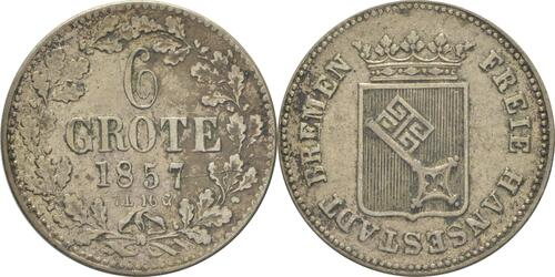 Lieferumfang:Deutschland : 6 Grote  patina 1857 ss/vz.