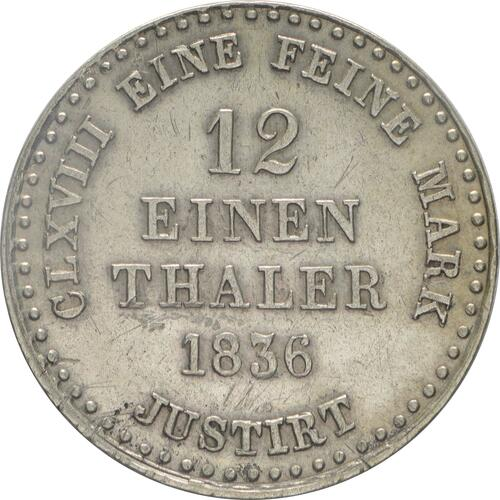 Rückseite:Deutschland : 1/12 Taler   1836 ss/vz.