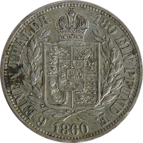 Rückseite :Deutschland : 1/6 Taler   1860 ss/vz.
