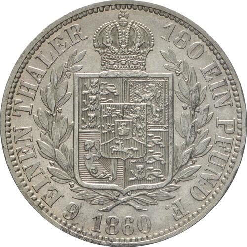 Rückseite:Deutschland : 1/6 Taler   1860 vz/Stgl.