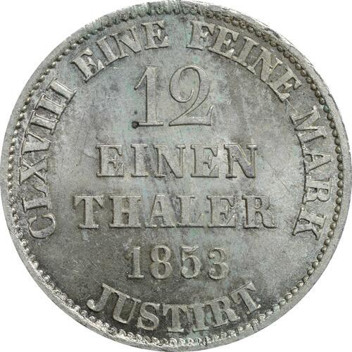 Rückseite:Deutschland : 1/12 Taler  -seltene Erhaltung- 1853 Stgl.