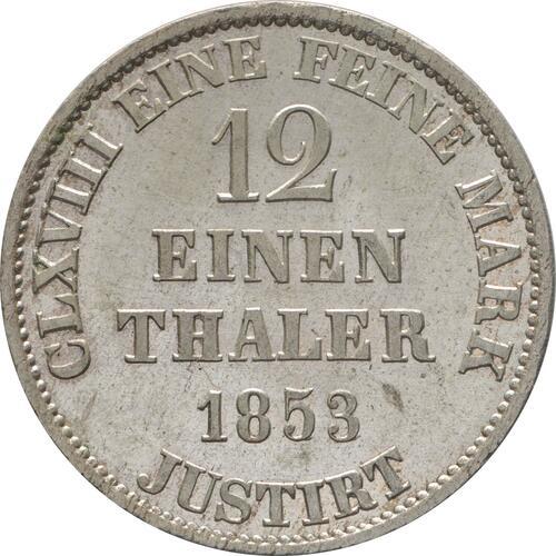 Rückseite:Deutschland : 1/12 Taler  -fein- 1853 Stgl.