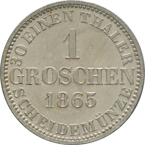 Rückseite:Deutschland : 1 Groschen   1865 Stgl.