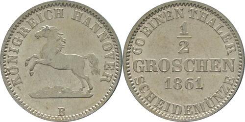 Lieferumfang:Deutschland : 1/2 Groschen  !Erhaltung! 1861 vz/Stgl.