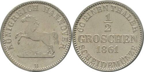 Lieferumfang:Deutschland : 1/2 Groschen  -fein- 1861 Stgl.
