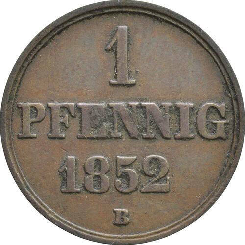 Vorderseite:Deutschland : 1 Pfennig  -seltenes Jahr- 1852 vz.