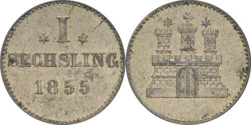 Lieferumfang:Deutschland : 1 Sechsling   1855 ss/vz.