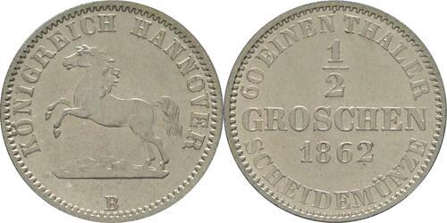 Lieferumfang :Deutschland : 1/2 Groschen  -fein- 1862 Stgl.
