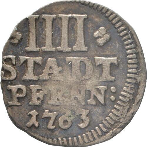 Vorderseite:Deutschland : 4 Pfennig   1763 ss.