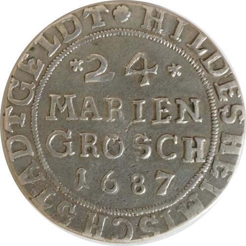 Vorderseite:Deutschland : 24 Mariengroschen  winz. Kratzer 1687 ss/vz.