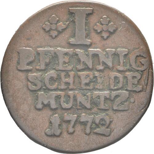 Vorderseite :Deutschland : 1 Pfennig  -selten- 1772 vz.