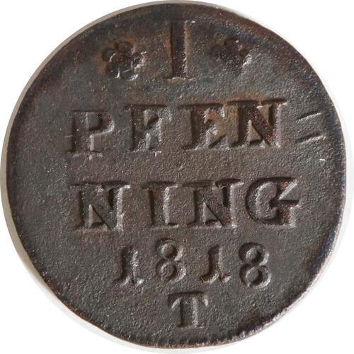 Vorderseite:Deutschland : 1 Pfennig   1818 vz.