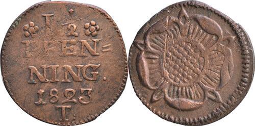 Lieferumfang :Deutschland : 1 1/2 Pfennig Zainende  1823 s.