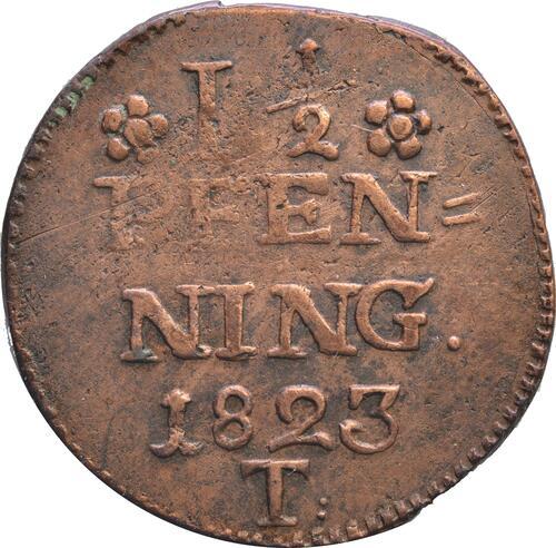 Vorderseite:Deutschland : 1 1/2 Pfennig Zainende  1823 s.
